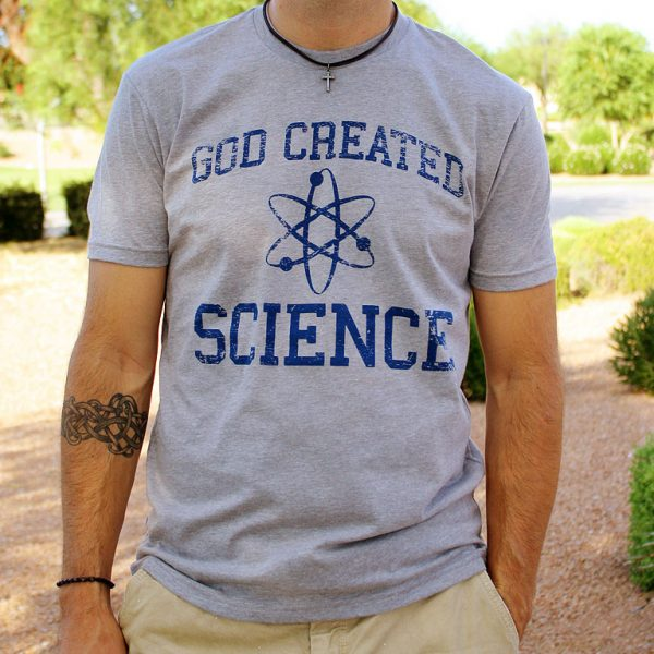 God Created Science Christian T-Shirt for men