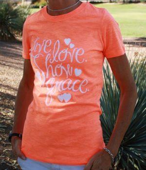 live love show grace neon orange christian top