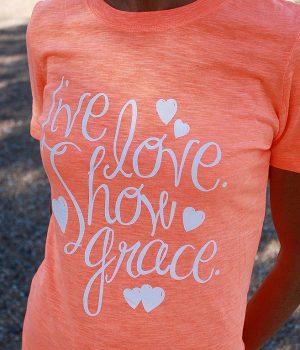 live love show grace neon orange shirt