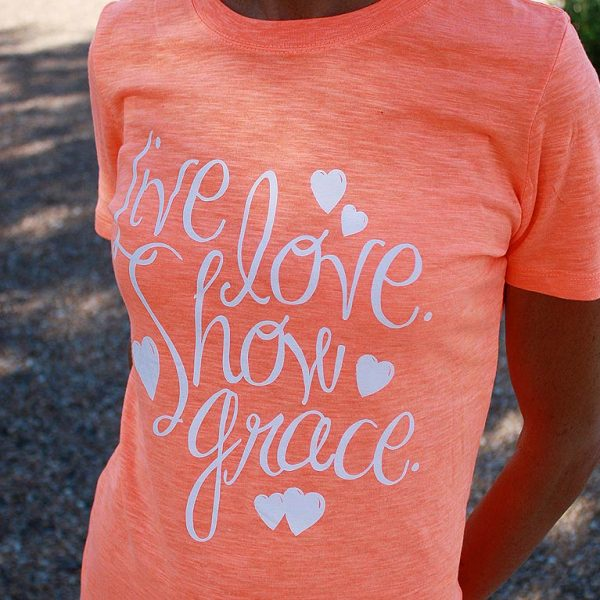 live love show grace neon orange shirt