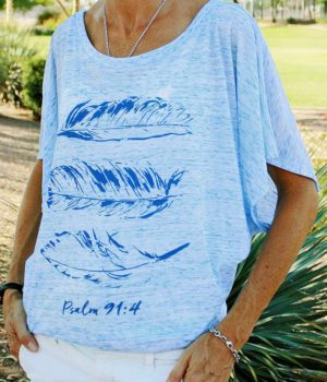 feathers drapy sleeve dolman christian top psalm 91