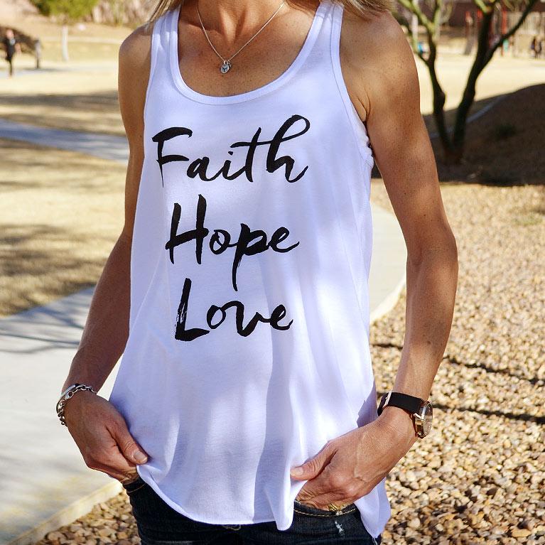 76c0ac411b72c Faith Hope Love Christian Tank Top for Women (Racerback)