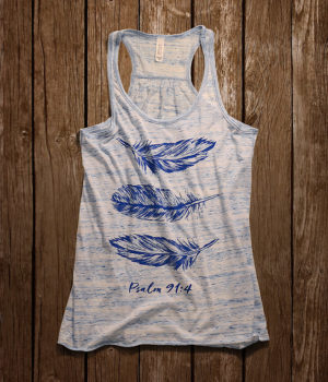 feathers flowy racerback christian tank top for women
