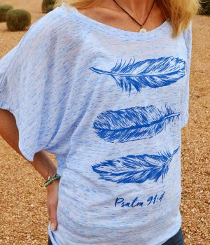 feathers drapy sleeve women's christian top